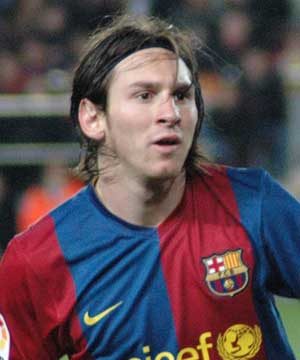 Football. Camp Nou: Barcelona-Arsenal, April 6th 2010. Lionel Messi 4 Goals